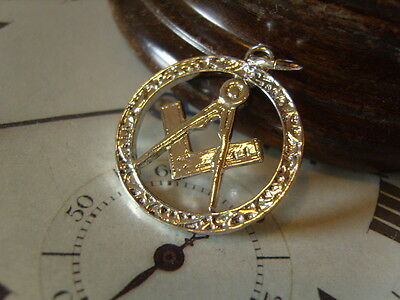 SUPERB LARGE MASONIC SILVER PLATED POCKET WATCH CHAIN FOB/PENDANT.