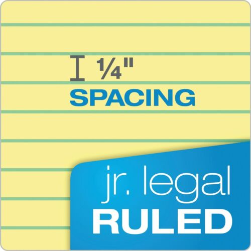 Jr 5 x 8 Legal Rule Canary Paper TOPS The Legal Pad Writing Pads 50 12