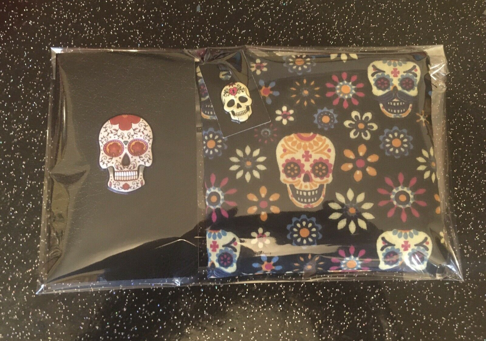 Sugar Skull Day Of The Dead Faux Leather 3D Notebook +Funky Purse 2pc Gift Set