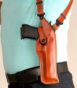 "Leather Vertical Shoulder Holster For Desert Eagle, Fits All Calibres With 6""BBL"