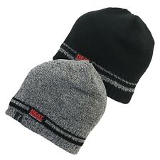 Mens Heat Machine Warm Tog Rated Thermal Beanie Hat /& Gloves Set Black and grey