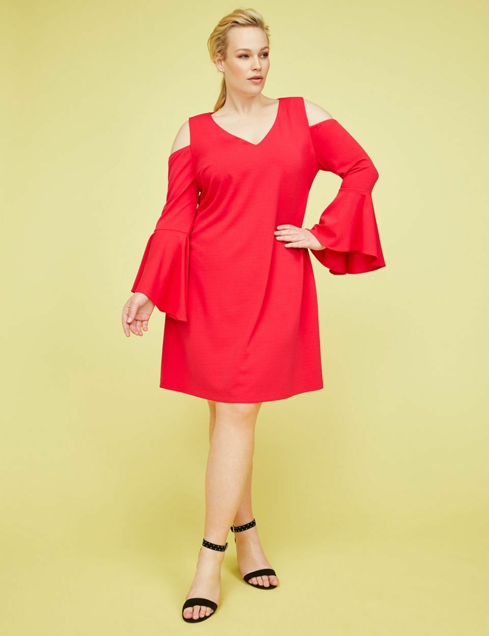 NEW LANE BRYANT PLUS SIZE pink RED COLD SHOULDER BELL SLEEVE DRESS SZ 28