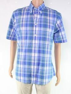 Brooks-Brothers-Mens-Shirt-Blue-Size-Large-L-Button-Down-Plaid-Pocket-54-408