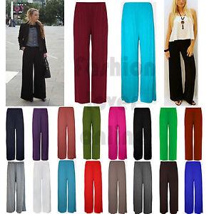 900fe7fb46b21 Womens Plus Size Palazzo Wide Leg Plain Flared Ladies Trousers ...