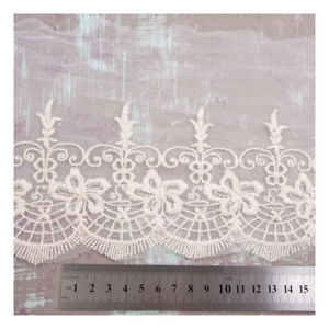 1-METRE-COTTON-LACE-160mm-WIDE-EMBROIDERY-TRIM-DRESSMAKING-TRIMMING-EDGE-HL430