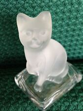 CAT FIGURINE PAPER WEIGHT - FROSTED GLASS ART SCULPTURE ON CLEAR GLASS PILLOW