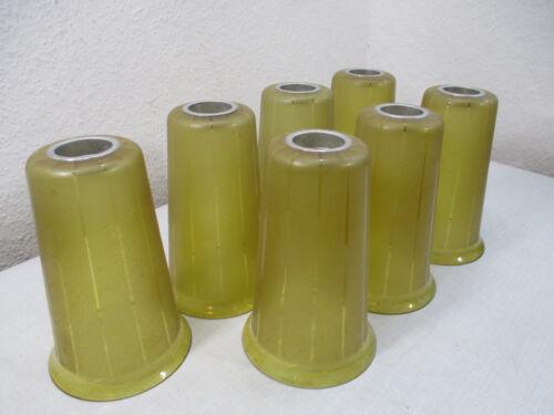 7 x ERSATZGLAS Lampenschirm H 21,5mm x Ø 14mm Antik Alt Tütenlampe