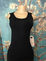 Diane Gilman Dg2 M/l Solid Black Round Neck Baby Ribbed Sleeveless Tank Top