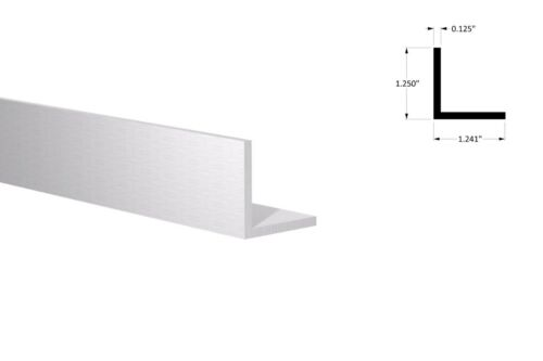 "Clear Anodized 6 Foot Length 1-1//4/"" x 1-1//4/"" x 1//8/"" Wall Aluminum Angle"