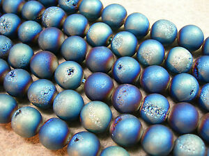 Blue-Green-Titanium-Plated-Agate-Druzy-Round-beads-10mm-8-034-strand