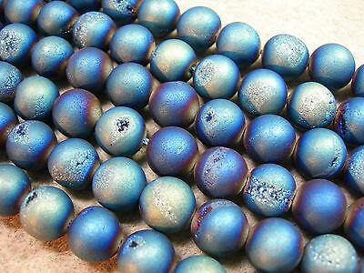 "Blue / Green Titanium Plated Agate Druzy Round beads 10mm - 8"" strand"