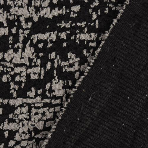 Tricot Tissu Tricot Jersey hachures traits gris clair noir 1,6 m Largeur