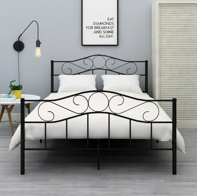 Twin Full Queen Size Metal Bed Frame, Metal Queen Size Bed Frame With Headboard