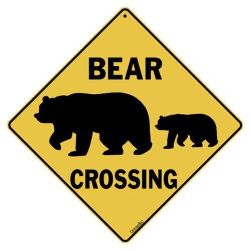 Bear Silhouette Crossing Sign NEW 12X12 Metal Bear