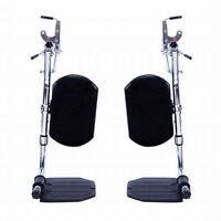 Invacare Wheelchair Elevating Foot Leg Rest W/ Padded Calf Pad & Footplates-pair