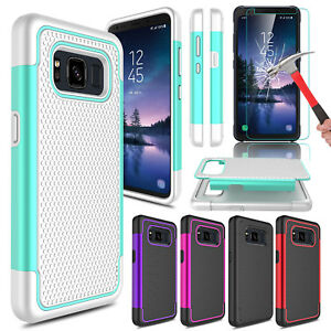 For-Samsung-Galaxy-S8-Active-Hybrid-Phone-Case-Tempered-Glass-Screen-Protector