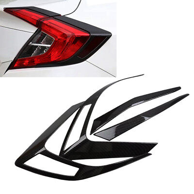 ABS Carbon Fiber Car Rear Brake Tail Light Cover Trim For Honda Civic 2016-2017