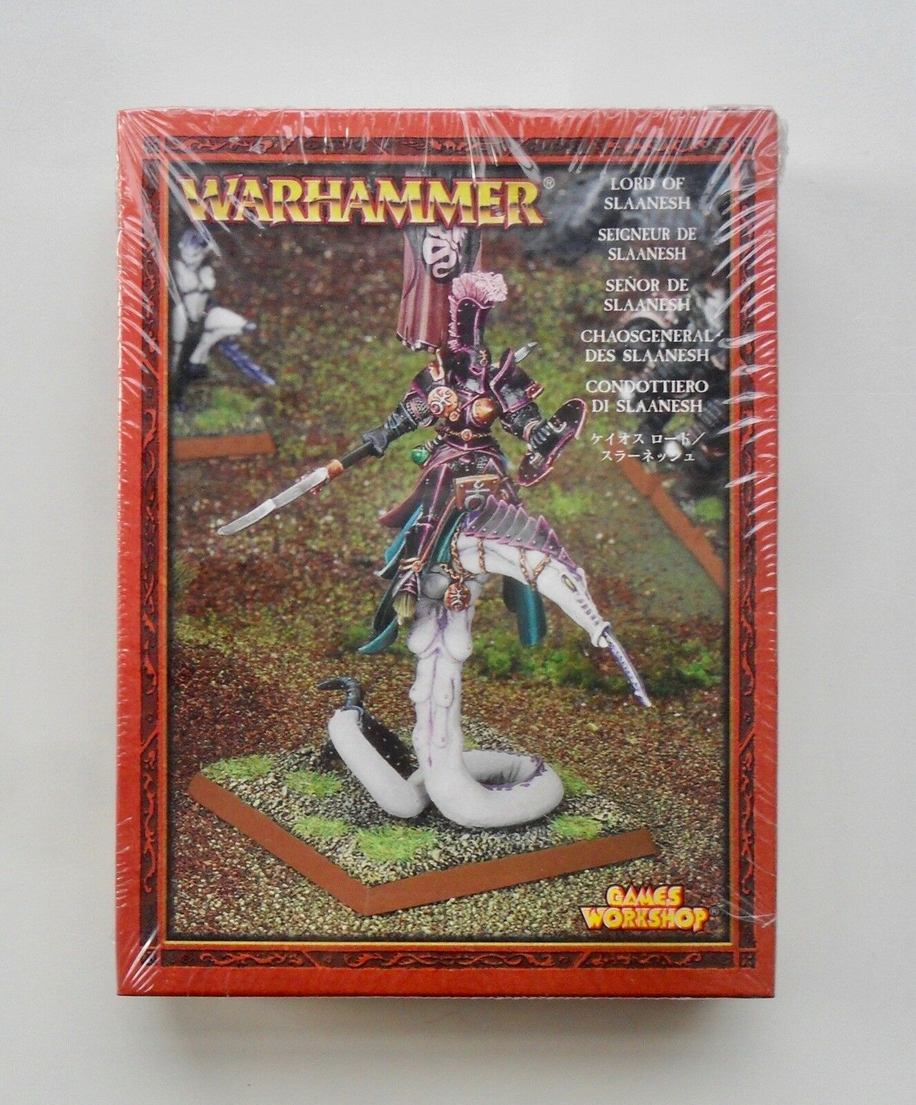 WARHAMMER FANTASY METALLO Chaos Lord on demoniaci Mount di Slaanesh NUOVO CON SCATOLA