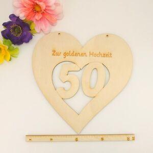 Goldene Hochzeit Geschenkidee Geschenk Deko Herz Aus Holz 50