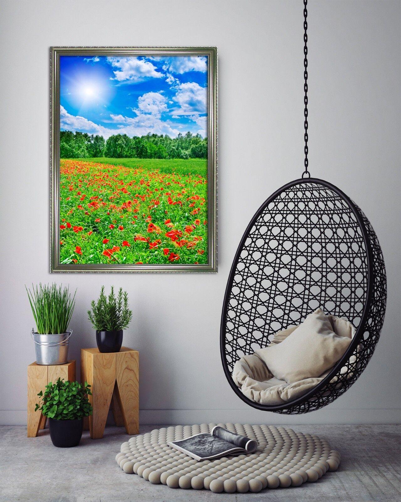 3D Sunny Flower Field 3 Framed Poster Home Decor Print Painting Art AJ WALLPAPER
