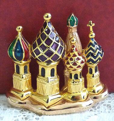 Nice JOAN RIVERS Multicolored Enamel Russian Onion Domed Church Brooch/Pin EE95