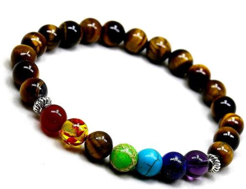 UK Ladies 7 Chakra Healing Charm Beaded Crystal Power Stone Bracelet for Women