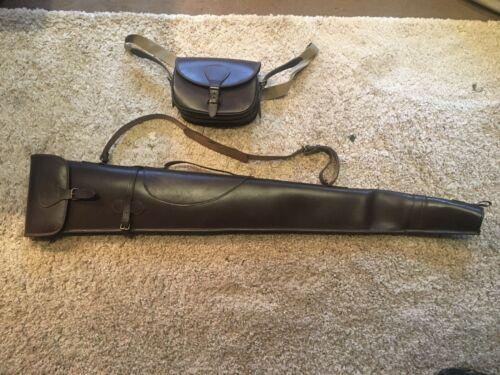 Vera Pelle corrispondenti Shotgun Slip gunslip E CARTUCCIA Bag Set