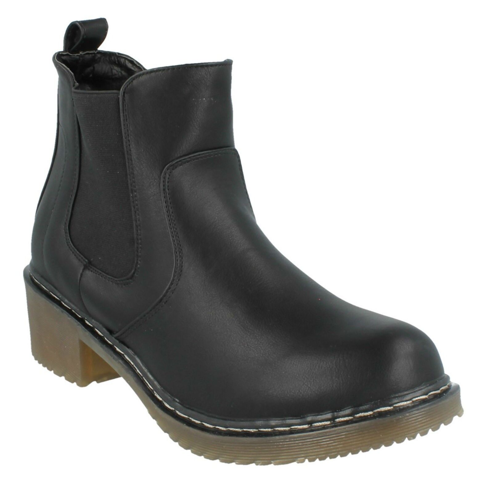 F5R0413 SPOT ON LADIES PULL ON  ELASTICATED GUSSET CHUNKY BLOCK HEEL ANKLE BOOTS