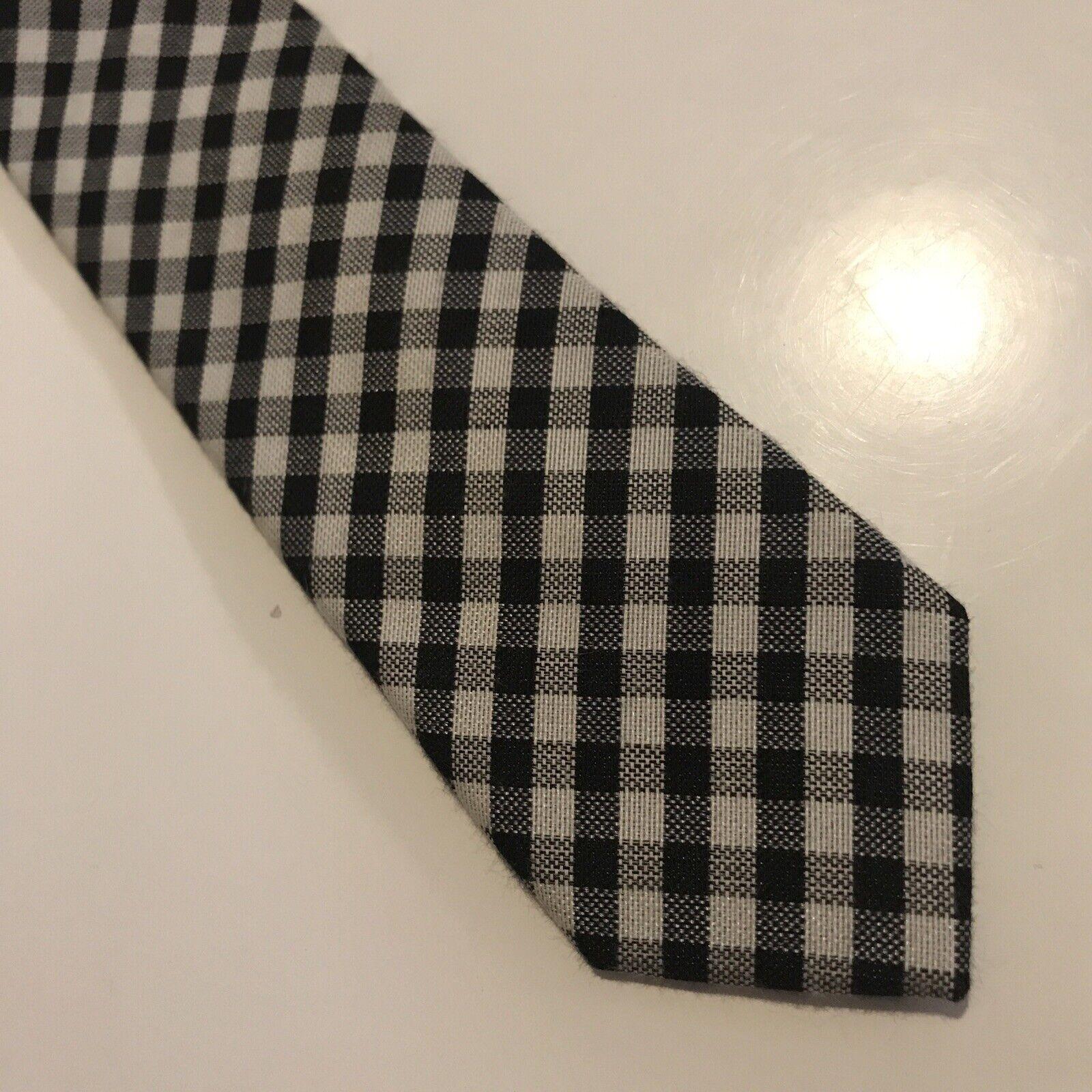 BEN SHERMAN Men's Skinny Tie -39% Poly 61% Cotton - Black White Checkered Design
