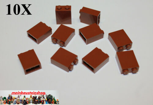 10x LEGO ® 3245 pietre Brick Panel pilastro muro 1x2x2 rosse-marroni Reddish Brown NUOVO