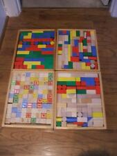Wooden Blocks in Storage Trays Multi Colored Letters Numbers Many Shapes