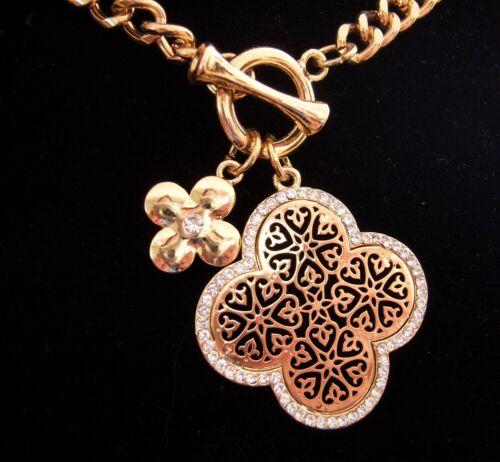 Farbe Gold Collier Kette 45 cm 2 Anhänger Kreuz Ornament mit Kristallen NEU