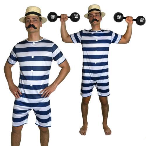 20s Mens Old Time Bathing Suit 20s Victorian Beach Swimsuit Fancy Dress Hat