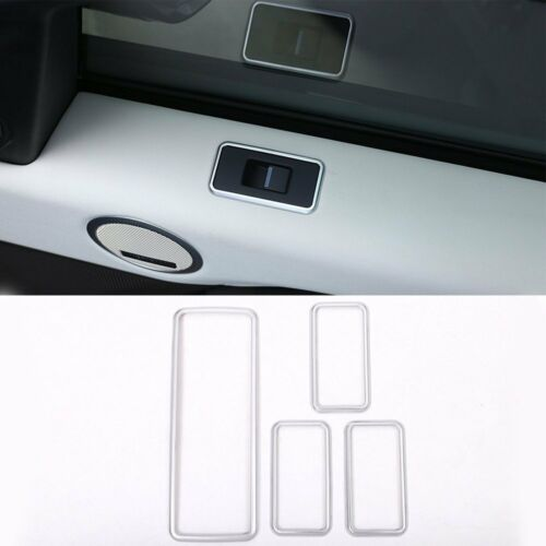 4*Silver Window Lift Button Frame Cover Trim For Land Rover Discovery 5 2017-18