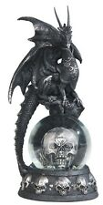 COHORTS in BLACK Dragon on Snow Globe -Pirate Skull Statue figurine H7.88""