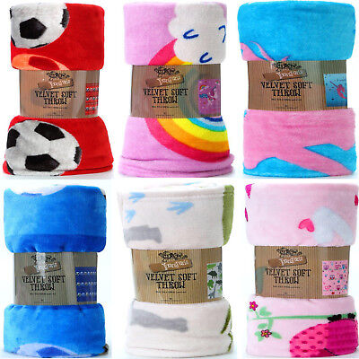 Kids Girls Unicorn Mermaid Fleece Throw Blanket For Sofa Couch Bed Kids Room