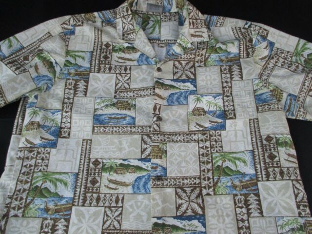 Royal Creations Mens Hawaiian Aloha Button Front Short Sleeve Shirt Large L
