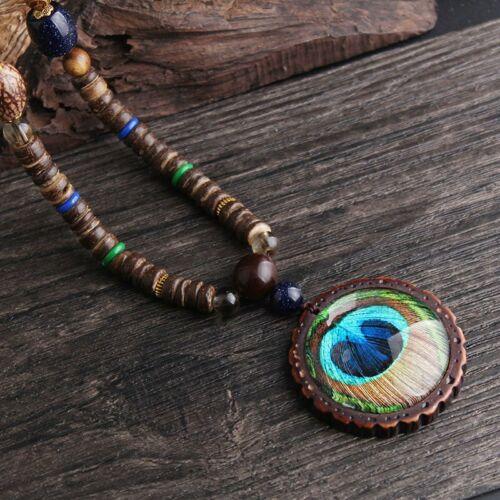 Handmade Nepal Buddhist Mala Bead Pendant Necklace Ethnic Horn Fish Long Chain