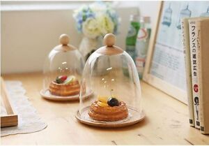 Image is loading NEW-Clear-Plastic-Cake-Pastry-Dome-Cover-Wooden- & NEW Clear Plastic Cake Pastry Dome Cover Wooden Plate SET Food Saver ...
