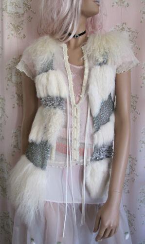 misto lana Gilet Glam pelliccia Vtg genuino in coniglio mongola 70s con di di Raro Xs paillettes AgqxXw