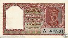 "INDIA RS 2 RAMA RAU NOTE B-1 AUNC PREFIX ""A"" 1950 GUJ 2 ON FACE DEFECTIVE HINDI"
