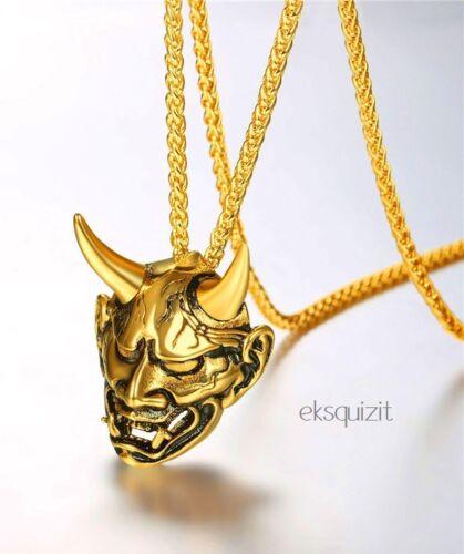 HORNED PUNK BIKER CHARM-UNISEX 24k GOLD PLATED CHUNKY DEVIL PENDANT NECKLACE