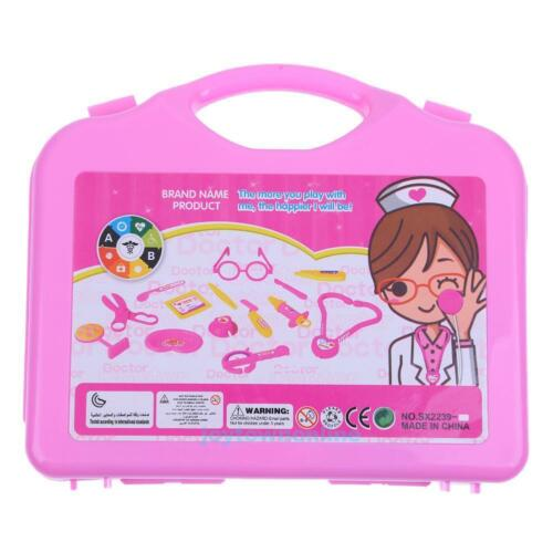 15pc Doctor Medical Kit Set Nurse Carry Box Case Kids Role Play Pretend Toy Gift