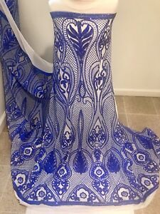 Blue-White-Stretch-Sequins-Embroidered-Lace-Fabric-50-Width-Sold-By-The-Yard