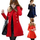 Cheap Women Winter Wool Coat Jacket Double Breasted Pea Coat Trench Coat Parka