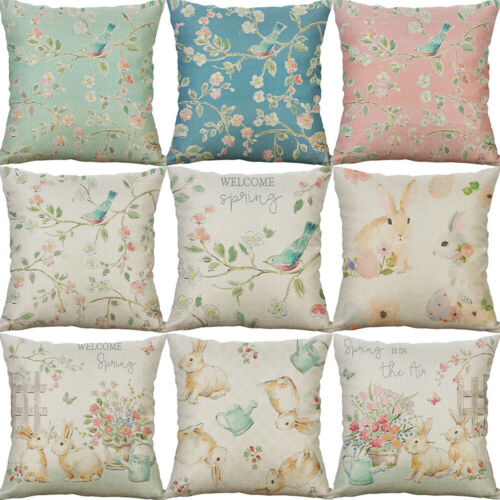 Rabbit bird flower Printing Cotton linen  pillow Case cover Home Decor