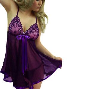 707a717d0a59 M Size Women Purple Colour Sleepwear Sexy Lace Lingerie Nightwear ...