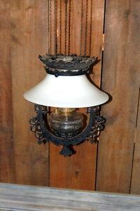 Details About Original Antique Victorian Cast Iron Pull Down Kerosene Light Fixture Lighting