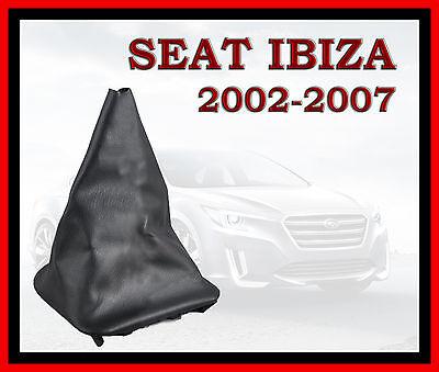 SEAT IBIZA 2002-2007  BLACK LEATHER GEAR STICK KNOB COVER GAITER NEW