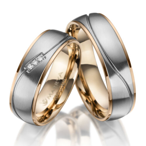 2 Trauringe Hochzeitsringe Verlobungsringe Eheringe Zirkonia Edelstahl ES-21